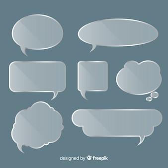 Coleção de bolha de discurso de vidro realista