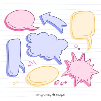 Coleção de bolha de discurso simples mão desenhada