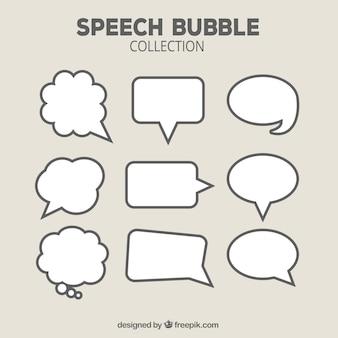 Coleção de bolha de fala desenhada a mão