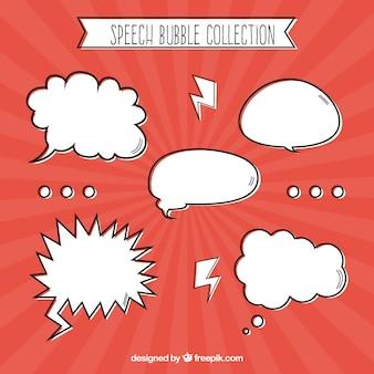 Coleção de bolha de fala desenhada à mão