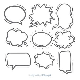 Coleção de bolha do discurso desenhados à mão