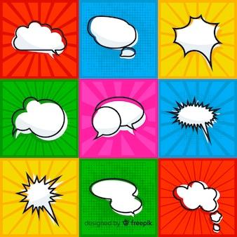 Coleção de bolha do discurso em quadrinhos com fundo colorido