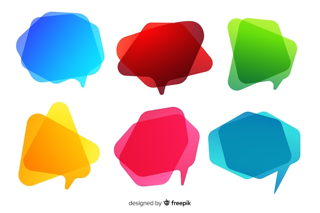 Coleção de bolha do discurso gradiente colorido vazio