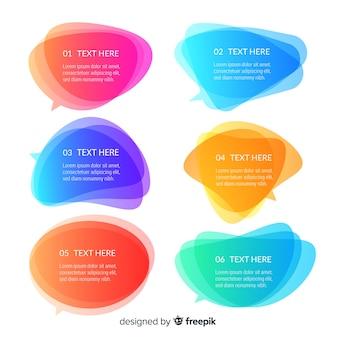 Coleção de bolha do discurso gradiente