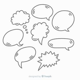 Coleção de bolha do discurso mão desenhada