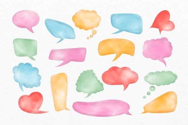 Coleção de bolhas de bate-papo em aquarela