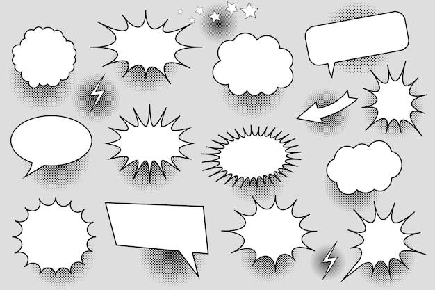 Coleção de bolhas de discurso branco em quadrinhos com balões em branco de diferentes formas, estrelas, raios de seta e efeitos de meio-tom.
