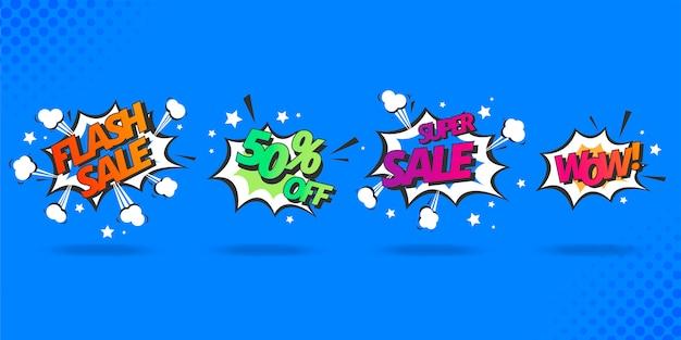 Coleção de bolhas de discurso de venda em estilo cômico