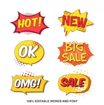 Coleção de bolhas de discurso de venda no estilo cômico
