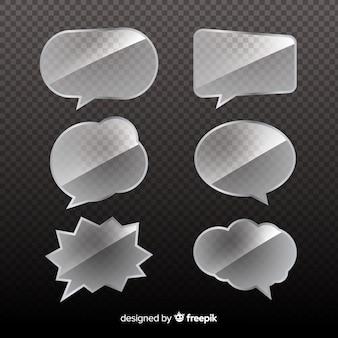Coleção de bolhas de discurso de vidro com fundo transparente