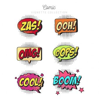 Coleção de bolhas de discurso em quadrinhos