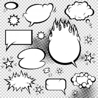 Coleção de bolhas de discurso estilo cômico