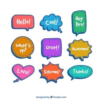 Coleção de bolhas de fala multicoloridas