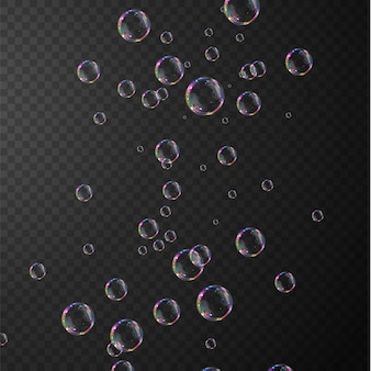 Coleção de bolhas de sabão realistas as bolhas estão localizadas em um fundo transparente