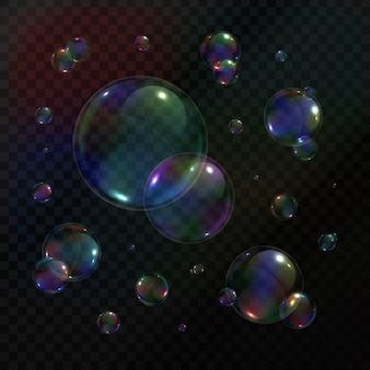 Coleção de bolhas de sabão realistas no fundo transparente.