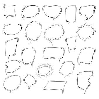 Coleção de bolhas do discurso bonito mão desenhada