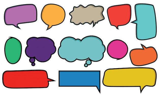 Coleção de bolhas do discurso com coloração dos desenhos animados