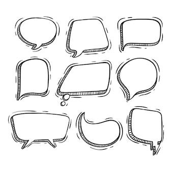 Coleção de bolhas do discurso com estilo doodle