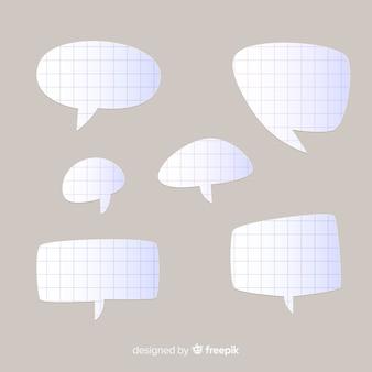 Coleção de bolhas do discurso design plano em estilo de jornal