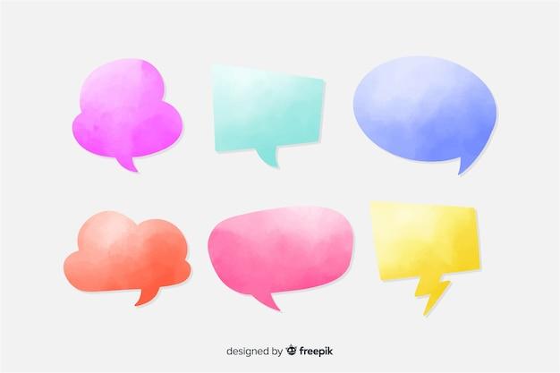Coleção de bolhas do discurso em aquarela