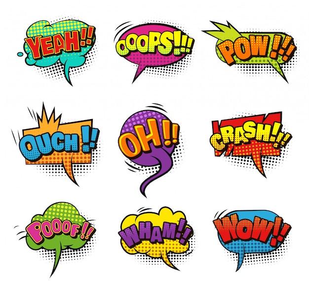 Coleção de bolhas do discurso em branco colorido em quadrinhos com efeitos de humor de som e meio-tom