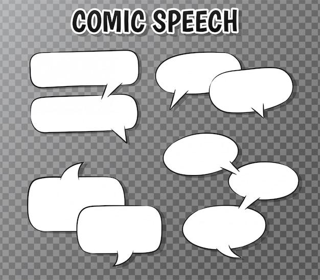 Coleção de bolhas do discurso em quadrinhos em transparente.