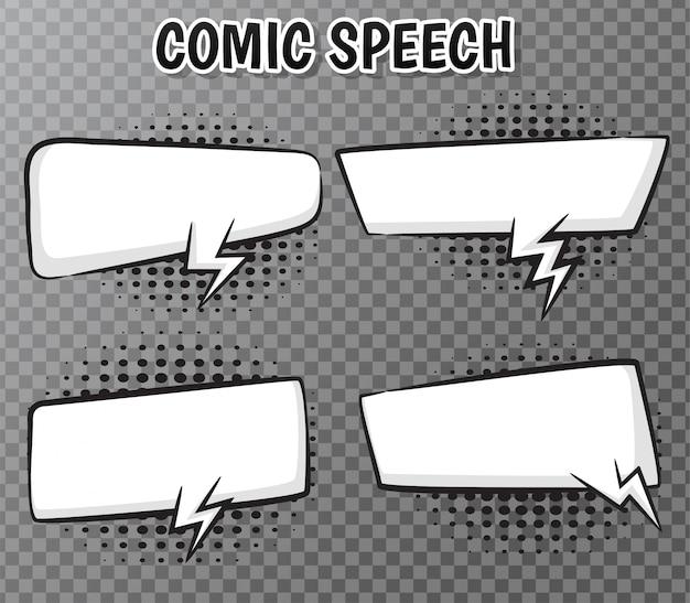 Coleção de bolhas do discurso em quadrinhos em transparente