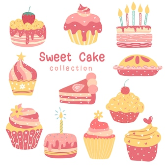 Coleção de bolo de aniversário de dia dos namorados queque doce de padaria, torta, bolinho, desenho de quarky bonito plano