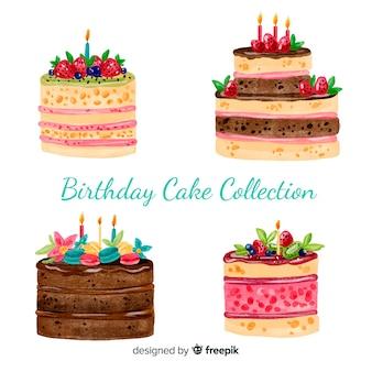 Coleção de bolo de aniversário em aquarela