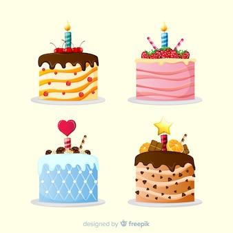 Coleção de bolo de aniversário plana