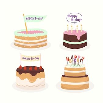 Coleção de bolo de bolo de design plano