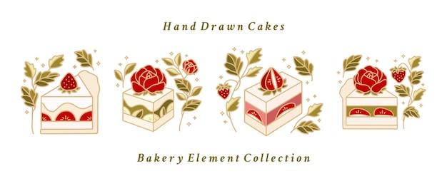 Coleção de bolo desenhado à mão, pastelaria, elementos de logotipo de padaria com flor rosa e plantas de morango
