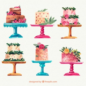 Coleção de bolos de aquarela