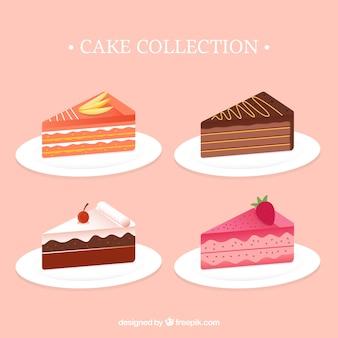 Coleção de bolos deliciosos em estilo plano