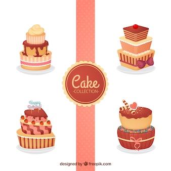 Coleção de bolos deliciosos na mão desenhada estilo