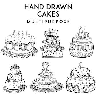 Coleção de bolos desenhados a mão
