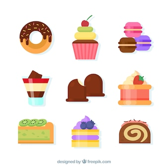 Coleção de bolos e doces em estilo plano