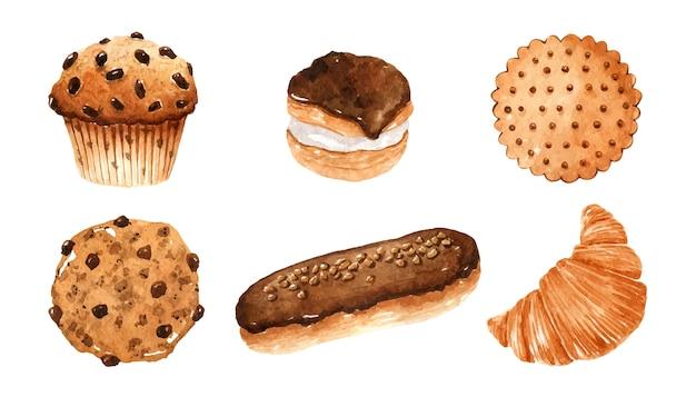 Coleção de bolos em aquarela - biscoitos e muffin com gotas de chocolate, éclair, croissant e profiterole com esmalte
