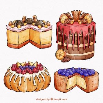 Coleção de bolos em estilo aquarela