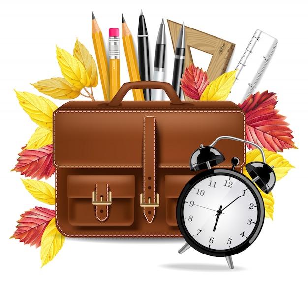 Coleção de bolsa e lápis de escola