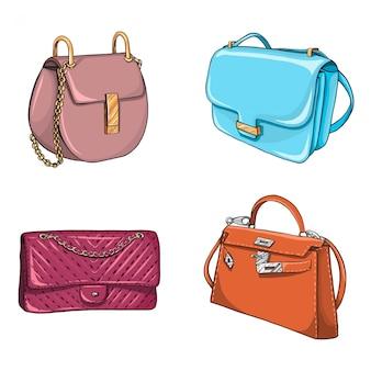 Coleção de bolsas de moda desenhada de mão.