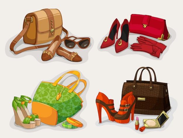 Coleção de bolsas de mulheres sapatos e acessórios