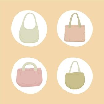 Coleção de bolsas de tecido de design plano