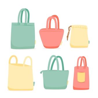 Coleção de bolsas de tecido plano