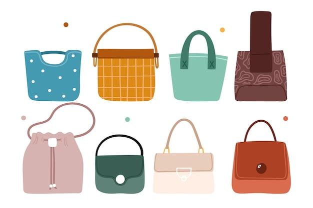 Coleção de bolsas de tendência moderna.