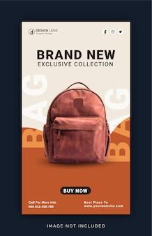 Coleção de bolsas escolares banner de postagem no instagram modelo de postagem em mídia social