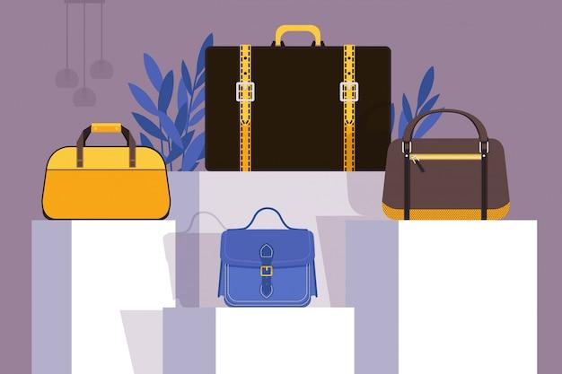 Coleção de bolsas na vitrine de loja de moda