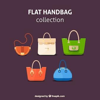 Coleção de bolsas plana