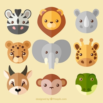 Coleção de bom avatar animal selvagem