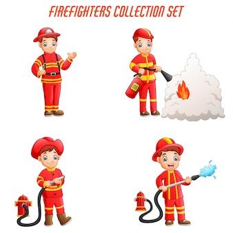 Coleção de bombeiros dos desenhos animados com poses de ação diferente